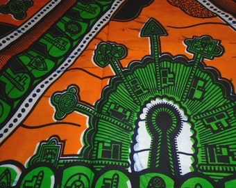 1 Yard Cut, African Wax Print - Cotton Fabric