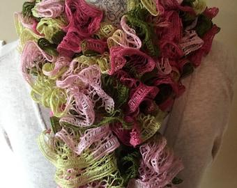 Handmade Ruffle Scarf in Pink Camo
