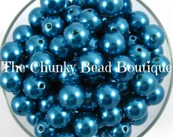 16mm cerulean blue resin pearls
