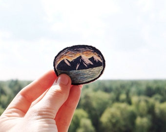 Hand Embroidered Brooch Mountains