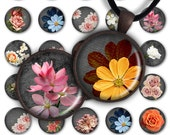 75% OFF SALE Floral Black - Digital Collage Sheet PC051 1inch round 1inch circle 25 mm Flowers Pendant Printable Image Jewelry Making