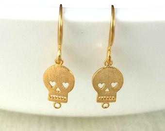 Halloween Earrings, Gold Skull Earrings
