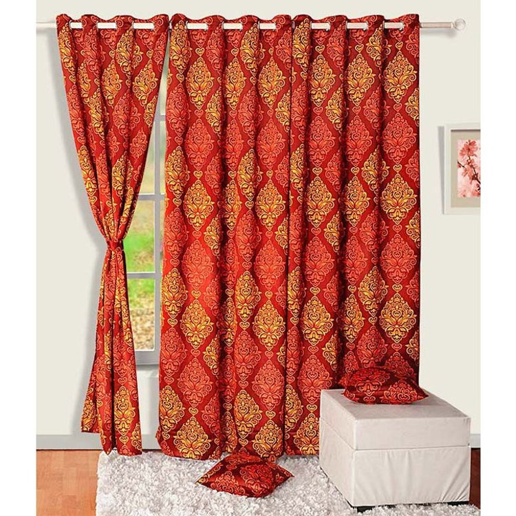 Fabric And Faux Silk Curtain Red Orange Curtain By