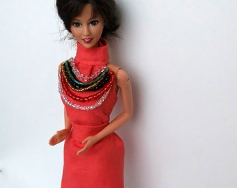 Barbie terracotta dress decorated with beads, Barbie spring and summer dress, Barbie colorful dress
