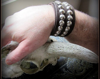 leather bracelet cuff, 1970's vintage style, silver rivets studs, mens or womens boho, belly dance 70's festival hippie Skynard