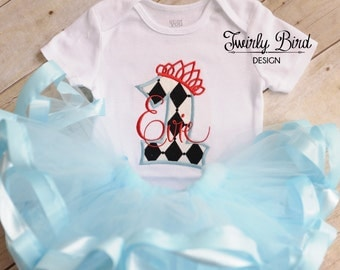 1st birthday outfit, Girl's First Birthday, Alice in Wonderland, 1st Birthday Girl, 1st Birthday Shirt, Onederland, Alice in Onederland Tutu