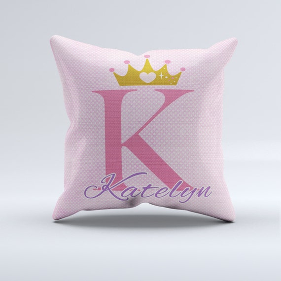 Items similar to princess throw pillow, custom name pillow, pink and gold crown throw pillow ...
