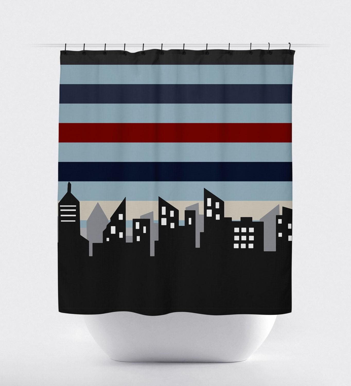 Superhero shower curtain stripes city skyline shower curtain for Superhero shower curtain