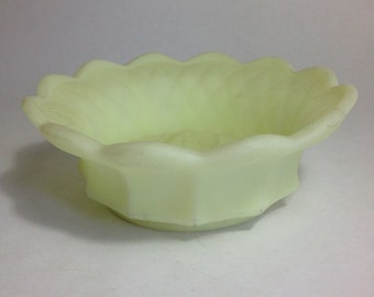 Fenton Custard Satin Paneled Bowl - Uranium