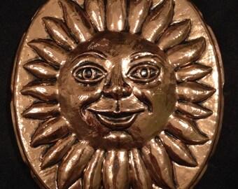 Vintage Birth-Gramm Copper Sun Face Jello Chocolate Mold Made in Switzerland