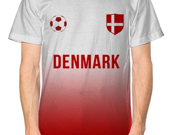 Denmark Football Nation Mens Tshirt Kit Shirt Jersey Euro 2016 World Cup