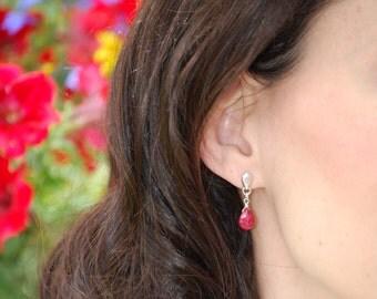 Genuine ruby earring, sterling silver earring, precious gemstone, drop dangle earring, briolette, jewelry set, July birthstone, gift for her