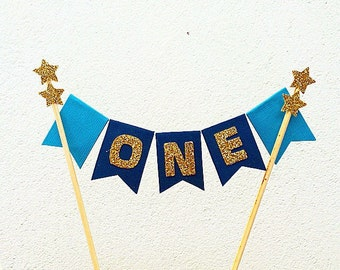 First birthday cake topper blue and gold star first birthday cake bunting, cake banner, cake topper, cake smash, 1st birthday, one, 1