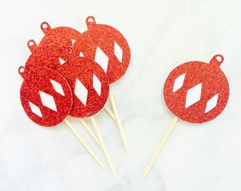 Red and white glitter christmas tree ornament cupcake toppers, christmas decorations, christmas cupcake toppers
