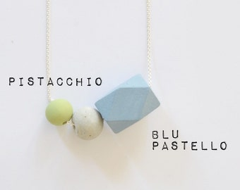 wood and concrete TRIO necklace