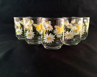 Libbey Daisy and Butterfly Small Glasses - Juice Glasses - Vintage - Set of 5