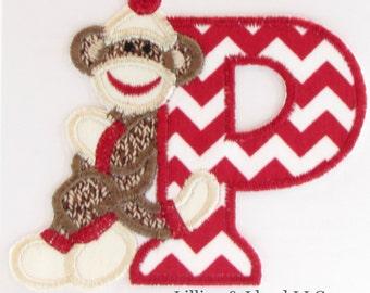 Sock Monkey Alphabet Iron-On Applique