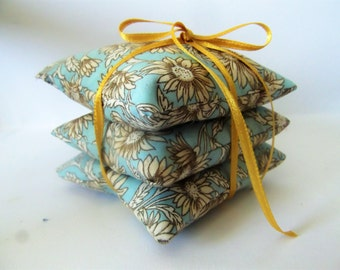 Handmade Lavender Filled  Autumn Sky Flowers Fabric Fragrant Little Pillows set of Three