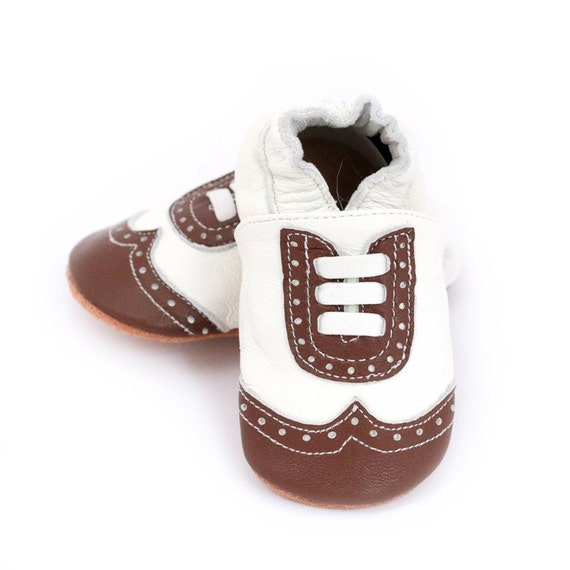 Brown wingtip baby shoes boy or girl dressy by ElkKidsBoutique