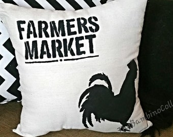 15 X 15 Farmers Market Rooster Natural Duck Cloth Throw Accent Pillow