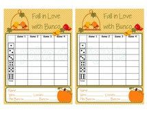 Buy 1 Get 1 Free Complete Set FALL in LOVE with Bunco Score Card Sheet Matching Table Numbers Tally Sheet Printable Digtal File Download PDF