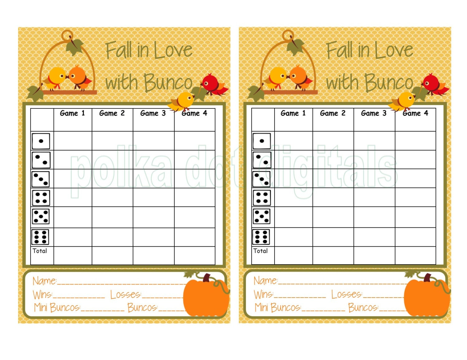 Buy 1 Get Free Complete Set FALL In LOVE With Bunco Score