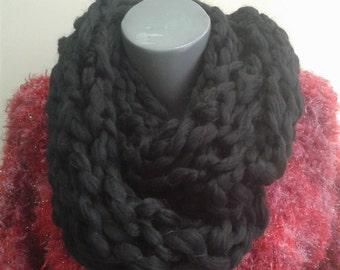 Unique, fluffy black scarf