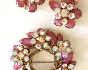 SALE! Vintage verified Delizza and Elster Juliana pink glass and AB rhinestone brooch and earring set