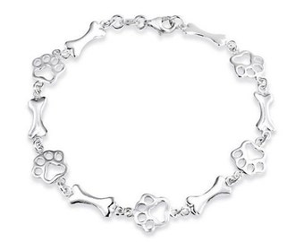 Sterling Silver Dog Bone Paw Print Bracelet