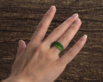Irish Whiskey Ring - Recycled from Jameson Bottle - Emerald Green All-Glass Ring - Whisky Gift -Upcycled Recycled Repurposed