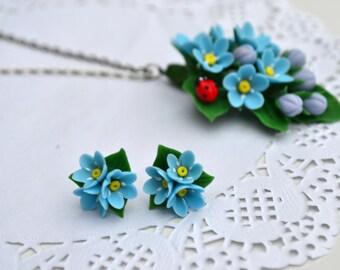 Forget me not stud earrings ring pendant. Forget me not jewelry. blue flowers. Blue flowers studs earrings. Polymer clay flower earrings