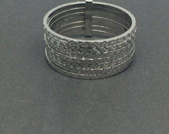 White Gold Rhodium 7 days Diamond Cut Sterling Silver Ring