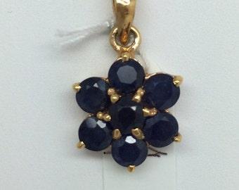 14K Yellow Gold Sapphire Flower Pendant