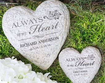 Personalized Memorial Garden Stone Engraved Always in My Heart LARGE Garden Stone