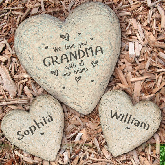 Names Of Decorative Stones : Personalized heart garden stone family engraved large