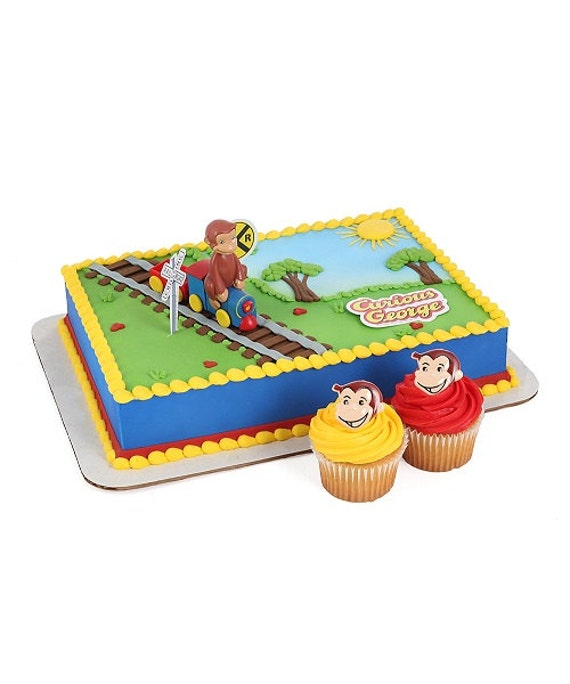 Curious George Cake Decorating Kit : Curious George on Train Cake Topper Decoration 4 piece Set