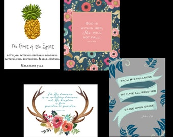 Scripture Art Print Pack of 10- 5x7 Cards, Scripture Cards, 5x7 Verse Prints, Verse Print Pack
