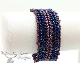 Blue and Purple Herringbone Bracelet
