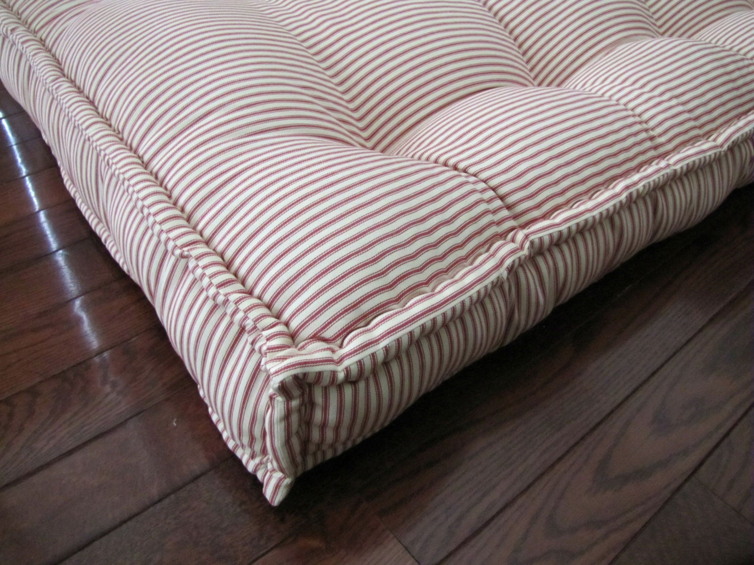 Custom Cushions Red Ticking Stripe French Mattress Quilting