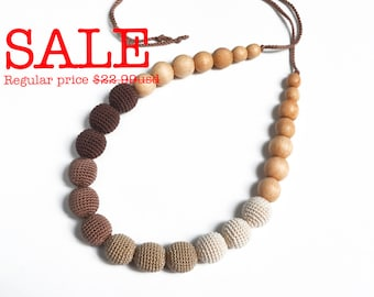 SALE! Brown Gradient Nursing Necklace - Teething necklace - Natural Jewelry - Crocheted Beads