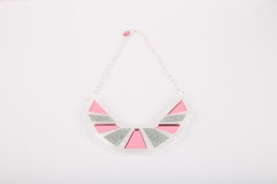 Sale Pink and Glitter Collar Acrylic Necklace