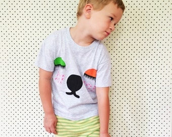 Snoozy Bear Organic Grey Cotton Screen Printed 3-4 size kids Top