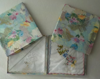 2 Boxed Sets of Vintage Baar & Beards Ladies Embroidered Handkerchiefs 100% Cotton Scalloped Edge Blue Pink White