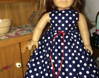 Navy and white polka dot dress with a hint of red to fit American Girl Doll or 18 inch doll