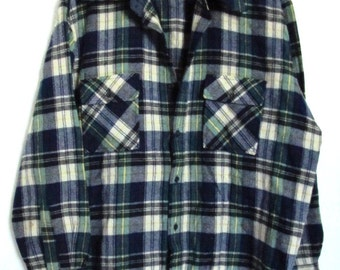 A Men's Vintage 60's,WOOL Plaid Rockabilly Shirt By GIMBELS.XL(46R)