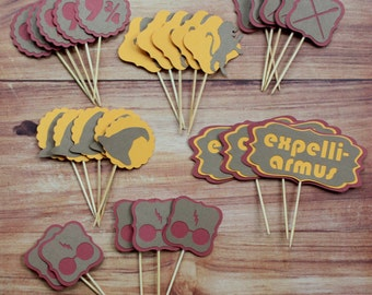 Harry Potter Inspired Cupcake Toppers (set of 28)