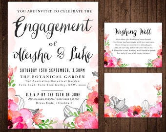 Engagement Invitation and Wishing Well Card - Custom Digital File
