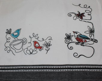 Embroidered Tea Towels with birds