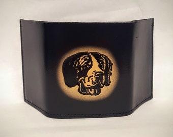 Saint Bernard Dog Breed Bifold or Trifold Leather Wallet