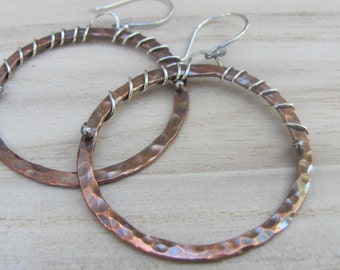 Rustic Copper Earrings, Hammered Earrings, Hoop Earrings, Mixed Metal Earrings, Copper Earrings